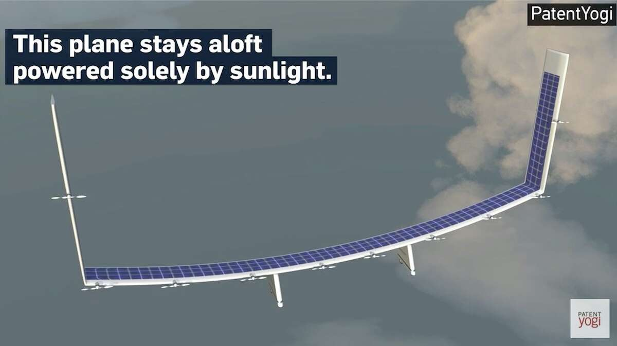 Image of the Boeing designed solar plane taken from a YouTube video by PatentYogi.