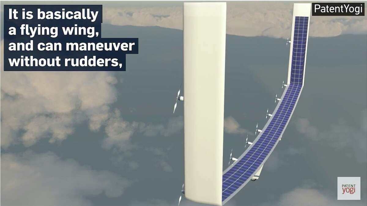 Image of the Boeing designed solar plane taken from a YouTube video byPatentYogi.