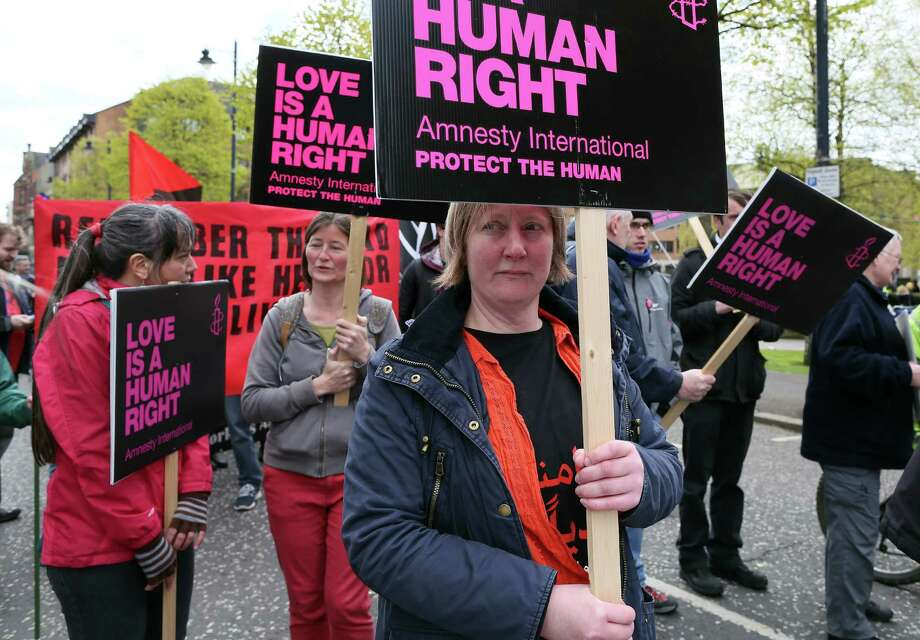 Pro-choice campaigners protest on April 30 in Belfast, Northern Ireland. A UN panel ruled Thursday that Ireland's abortion ban violates human rights. Photo: PAUL FAITH, Stringer / AFP or licensors