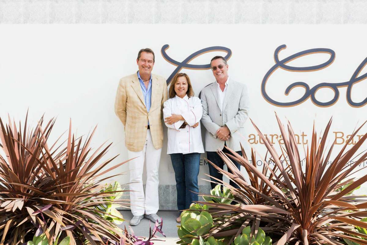 Rick Wahlsted and Joe King, owners of Le Colonial, and Nicole Routheir, partner and culinary director, stand in front of Le Colonial in River Oaks District. The French/Vietnamese restaurant and lounge expects to open in late July.