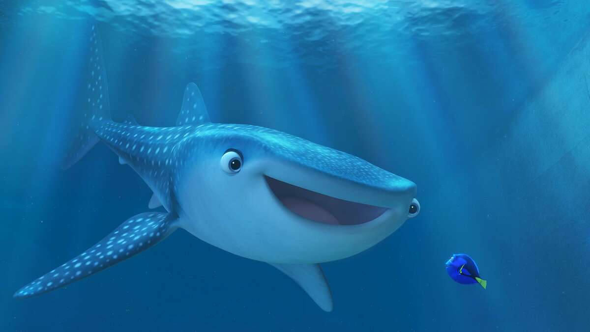 FINDING DORY. Pictured (L-R): Destiny (Kaitlin Olson) and Dory (Ellen DeGeneres). �2016 Disney�Pixar. All Rights Reserved.
