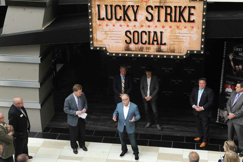 Owner Steven Foster speaks before Lucky Strike Social opens for a VIP party on Thursday night and to the general public Friday on Thursday June 9, 2016 in Guilderland, N.Y. (Michael P. Farrell/Times Union)