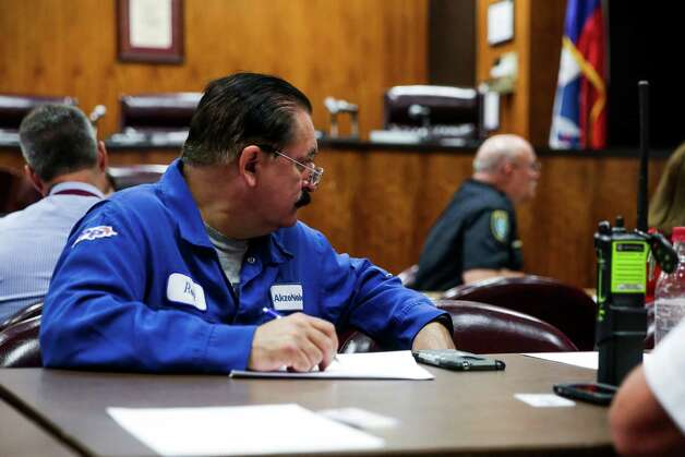 AkzoNobel Lab Technician Roy Hernandez listens to a presentation at the monthly meeting of the Deer Park Local Emergency Planning Committee at Deer Park City Hall Tuesday, May 24, 2016. Photo: Michael Ciaglo, Houston Chronicle / © 2016  Houston Chronicle