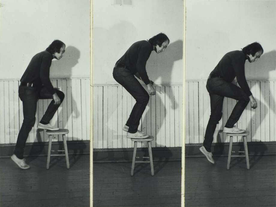 """""""Step Piece"""" (1971); by Vito Acconci, part of a large gift of photographs from Lisa and John Pritzker to SFMOMA. Photo: � Vito Acconi, SFMOMA"""