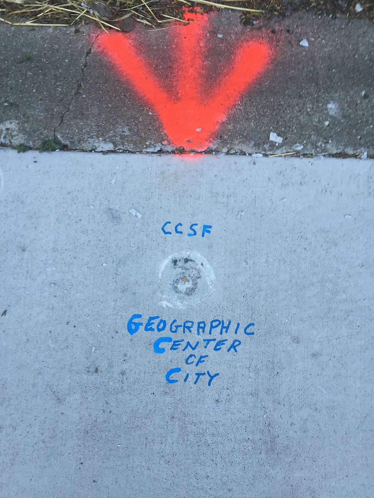 The spot where a surveyor's brass disc briefly marked the geographic center of San Francisco.