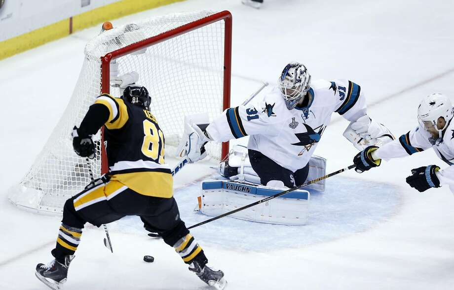 San Jose Sharks' Martin Jones stops a shot by Pittsburgh Penguins' Phil Kessel in the first period during Game 5 of the Stanley Cup Finals at Consul Energy Center in Pittsburgh. . Photo: Scott Strazzante, The Chronicle