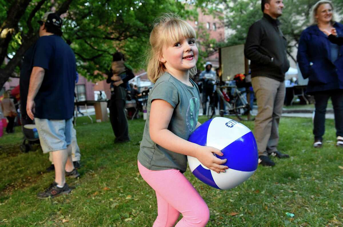 Isla Bauer, 5, of Guilderland plays with a beach ball during Alive at Five with headliners Dr. John and The Nite Trippers on Thursday, June 9, 2016, at Tricentennial Park in Albany, N.Y. (Cindy Schultz / Times Union)