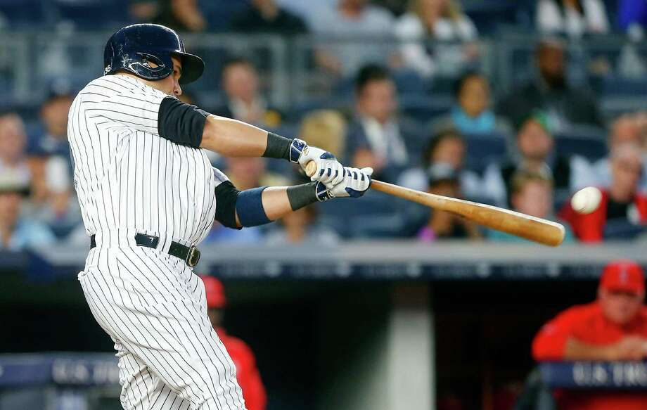 NEW YORK, NY - JUNE 09:  Carlos Beltran #36 of the New York Yankees connects on a fifth inning two run ground rule double against the Los Angeles Angels of Anaheim at Yankee Stadium on June 9, 2016 in the Bronx borough of New York City.  (Photo by Jim McIsaac/Getty Images) ORG XMIT: 607679221 Photo: Jim McIsaac / 2016 Getty Images