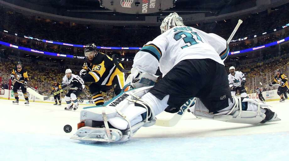San Jose Sharks goalie Martin Jones (31) makes a save with his left pad on a shot by Pittsburgh Penguins' Nick Bonino (13) during the second period in Game 5 of the NHL hockey Stanley Cup Finals on Thursday, June 9, 2016, in Pittsburgh. (Bruce Bennett/Pool Photo via AP) ORG XMIT: PAWS127 Photo: Bruce Bennett / Pool Getty Images