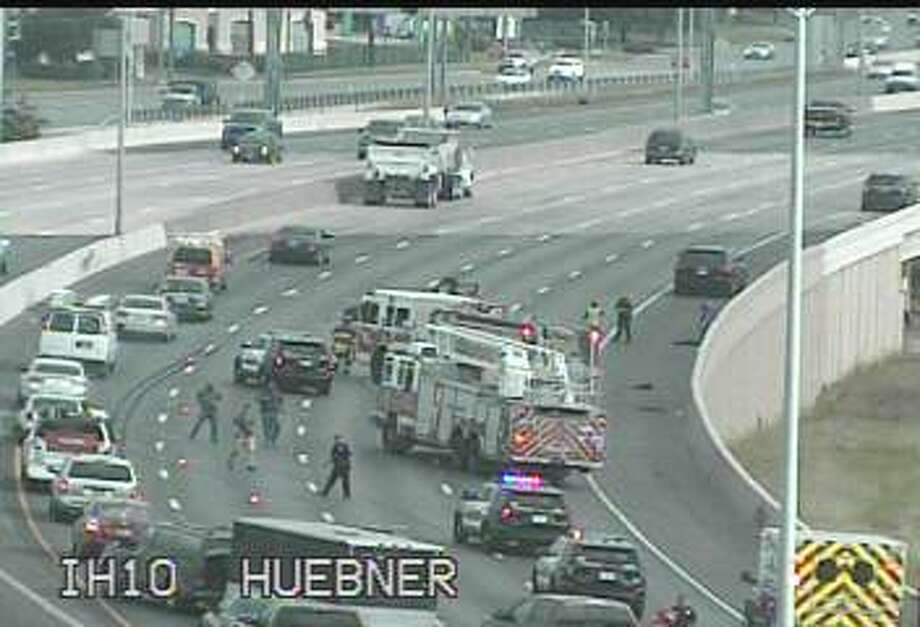 Police are responding to a rollover crash on Interstate 10 at Wurzbach Road. Photo: Transguide