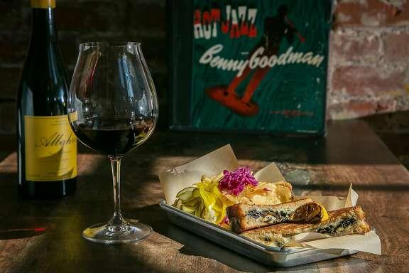 The Tanzbodeli sandwich with the Envinate Alicante Bouschet 2014 at Bergamot Alley in Healdsburg, California, is seen on June 9th, 2016.