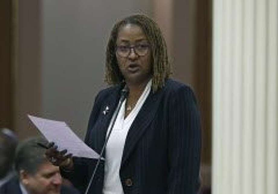 Sen. Holly Mitchell, D-Los Angeles, speaks on a measure before the Senate, Thursday, June 2, 2016, in Sacramento, Calif. By a 22-14 vote, the Senate approved Mitchell's bill, SB966, Thursday, that would end a practice of extending jail and prison sentences for repeat drug offenders. The measure now goes to the Assembly. (AP Photo/Rich Pedroncelli) Photo: Rich Pedroncelli, Associated Press