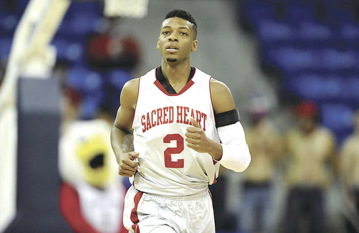 Contributed photo Former Sacred Heart men's basketball standout Evan Kelley, a Norwalk High graduate, is playing professionally overseas in Latvia. Kelley is the third-leading scorer at 9.9 points-per-game for BK Ogre of the Latvian Basketball League.