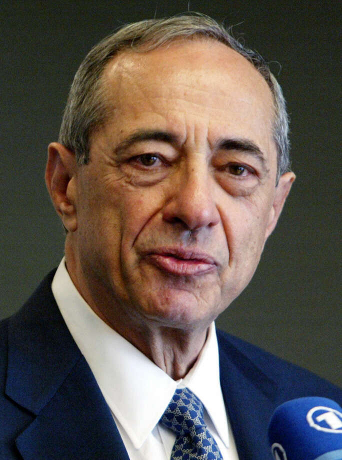 FILE - In this June 2004 file photo, former New York Gov. Mario Cuomo speaks during a news conference in New York. Cuomo, a three-term governor, died Thursday, Jan. 1, 2015, the day his son Andrew started his second term as governor, the New York governor's office confirmed. He was 82. (AP Photo/Mary Altaffer, File)