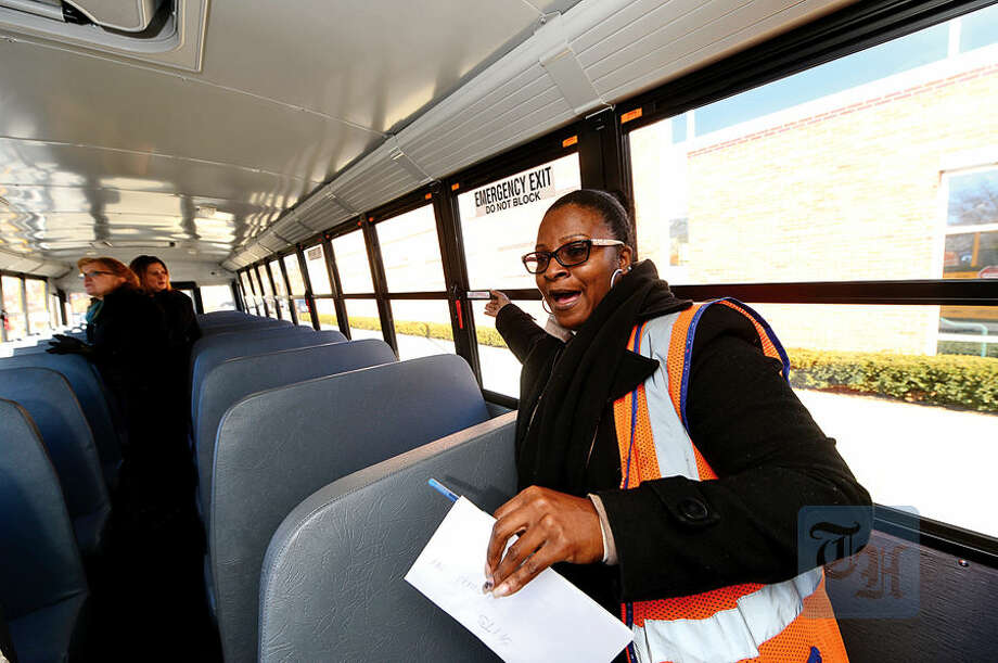 Hour photo / Erik Trautmann First Student Safety Manager Benita Hargett talks about improved safety features in the new Thomas Built SAF-T-LINER® C2 school buses that go into service this week.
