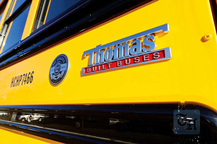 Hour photo / Erik Trautmann First Student puts new school buses into service this week including the Thomas Built SAF-T-LINER® C2.