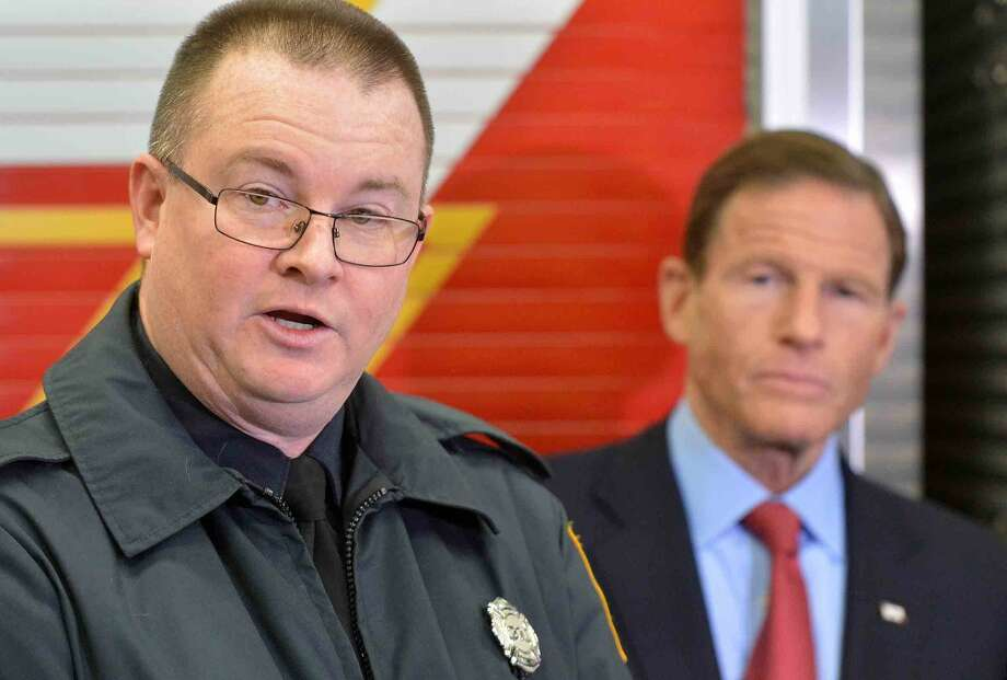 Brendan Keatley, president Firefighters Local 786, speaks about the Zadroga Act, health care for 9-11 first responders, which will be extended, during a press conference at Stamford Fire Departments Station 5 on Tuesday.