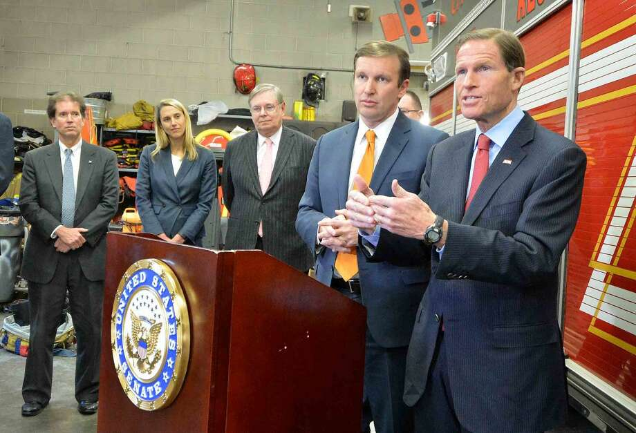 Senators Richard Blumenthal and Chris Murphy talk about the importance of the Zadroga Act, health care for 9-11 first responders, which will be extended, during a press conference at Stamford Fire Departments Station 5 on Tuesday.