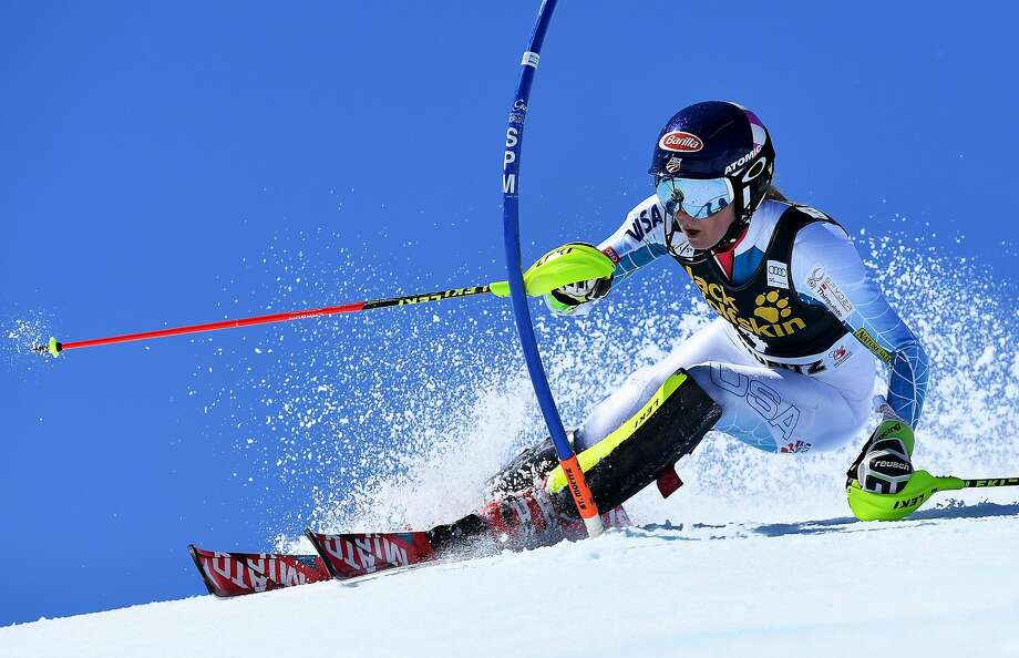 ST MORITZ, SWITZERLAND - MARCH 19:  Mikaela Shiffrin of the USA competes during the Audi FIS Alpine Ski World Cup Finals Women's Slalom on March 19, 2016 in St Moritz, Switzerland.  (Photo by Matthias Hangst/Getty Images) Photo: Matthias Hangst, Getty Images