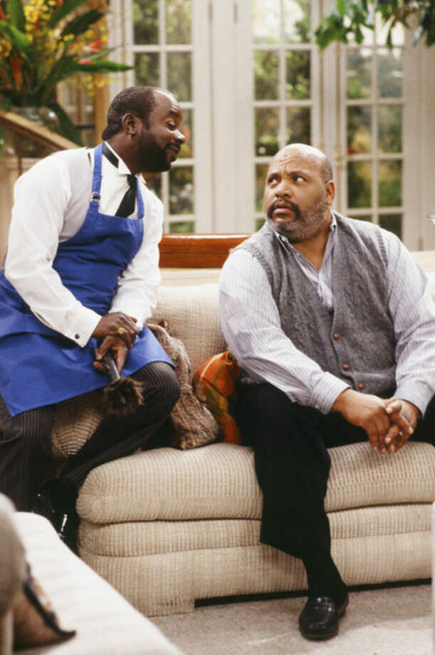 "This photo provided by NBC shows, Joseph Marcell, left, as Geoffrey, and James Avery, as Philip Banks, in the episode ""Papa's Got a Brand New Excuse"" from the TV series, ""The Fresh Prince of Bel-Air."" Avery, 65, the bulky character actor who laid down the law as the Honorable Philip Banks has died. Avery's publicist, Cynthia Snyder, told The Associated Press that Avery died Tuesday, Dec. 31, 2013. (AP Photo/NBC, Margaret Norton)"