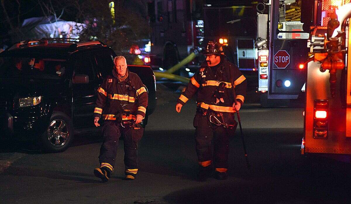 Norwalk fire responds to fire on Lenox Avenue Tuesday night.