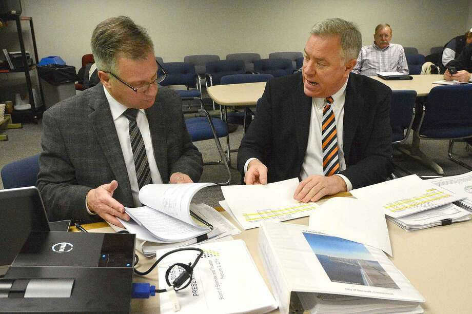 Hour Photo/Alex von Kleydorff Finance Director Thomas S Hamilton and Budget director Robert O. Barron