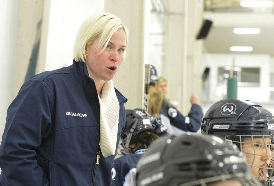 Hour Photo/Alex von Kleydorff Wilton High Girls Hockey Coach Melissa Hawkins