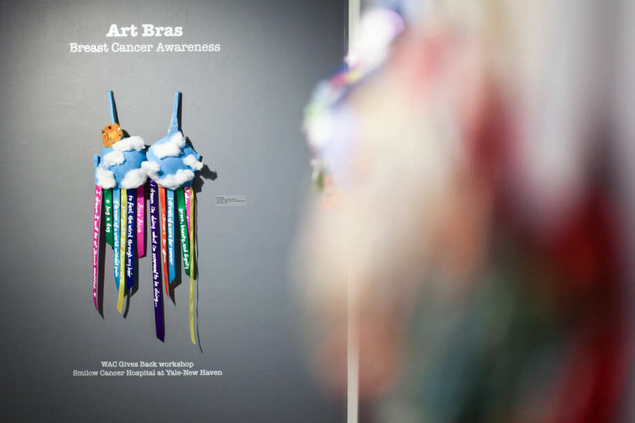 Hour photo/Chris Palermo. Art bras on display at the Westport Arts Center.