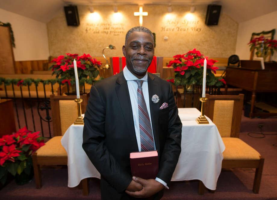 Hour photo/Chris Palermo. Rev. DuBoseis preparing for his upcoming Martin Luther King weekend sermon.