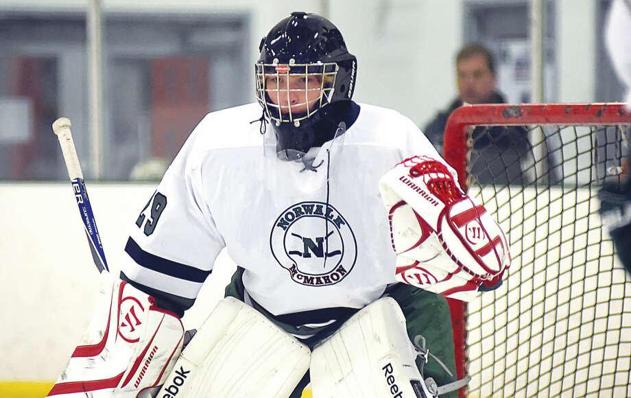 Hour photo/John Nash 0 Norwalk-McMahon goaltender Grant Riordon.