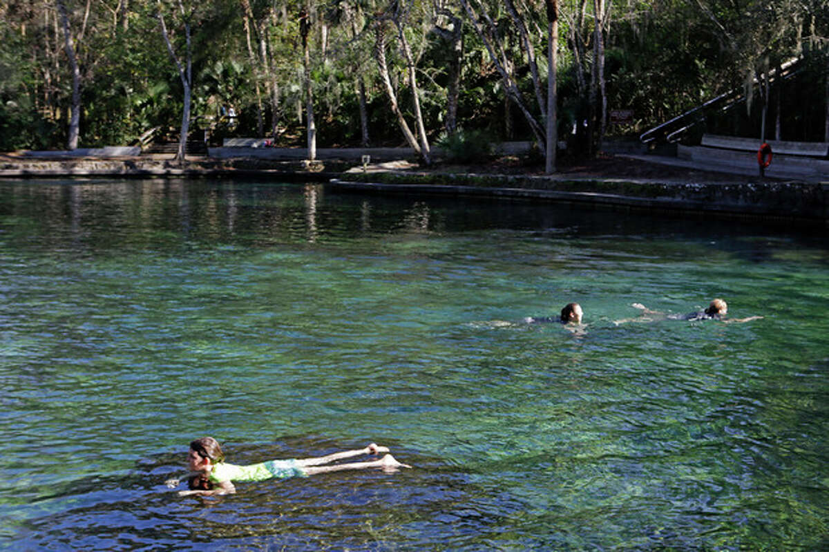 In this Monday, Dec. 30, 2013 photo, swimmers enjoy the clear waters of Wekiva Springs at the Wekiva Springs State Park in Apopka, Fla. Sometime in 2014 Florida will surpass New York in population and the state?'s primary source of water from the Florida Aquifer is becoming smaller due to the growth in population. (AP Photo/John Raoux)