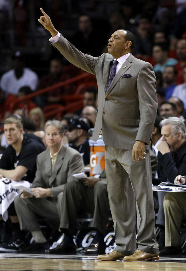 Brooklyn Nets head coach Lionel Hollins gestures during the first half of an NBA basketball game against the Miami Heat, Sunday, Jan. 4, 2015, in Miami. (AP Photo/Lynne Sladky)