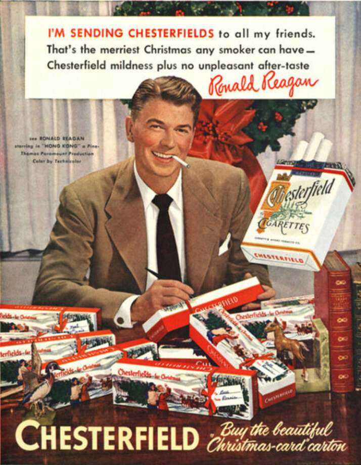 ADVANCE FOR USE SUNDAY, JAN. 5, 2014 AND THEREAFTER - FILE - This image provided by the Stanford Research into the Impact of Tobacco Advertising shows a 1949 Chesterfield cigarette advertisement featuring future President Ronald Reagan. On Jan. 11, 1964, U.S. Surgeon General Luther Terry released an emphatic and authoritative report that said smoking causes illness and death - and the government should do something about it. (AP Photo/Stanford Research into the Impact of Tobacco Advertising)