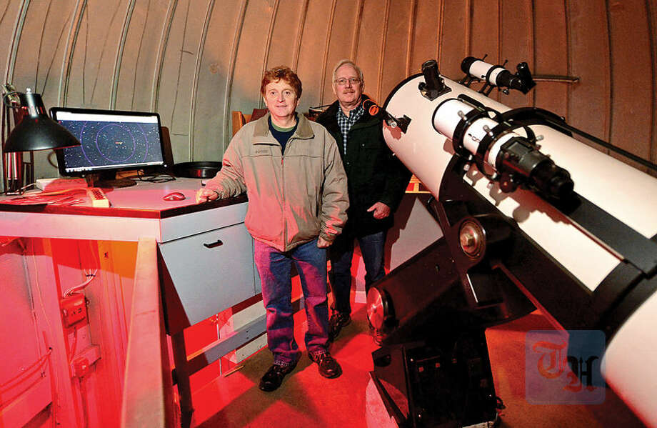 Westport Astronomical Society board member Kevin Green and Observatory Director Bob Meadows are tracking asteroid occultations using equipment at Rolnick Observatory.