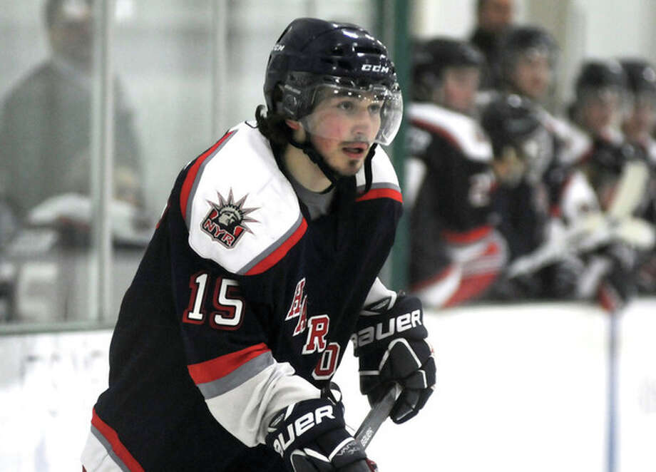 Hour photo/John NashKyle Wehmhoff, the former Staples High hockey standout, returns to the area as a member of the Hartford Junior Wolfpack. The Wolfpack will play the Connecticut Oilers on Sunday at the SoNo Ice House.