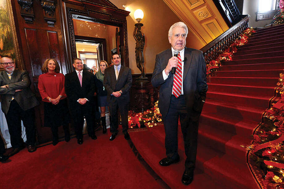 Hour photo / Erik Trautmann Norwalk Judge of Probate Antony DePanfilis addresses the crowd after getting sworn in for his last 4 year term during a ceremony at Lockwood Mathews Mansion Wednesday morning.