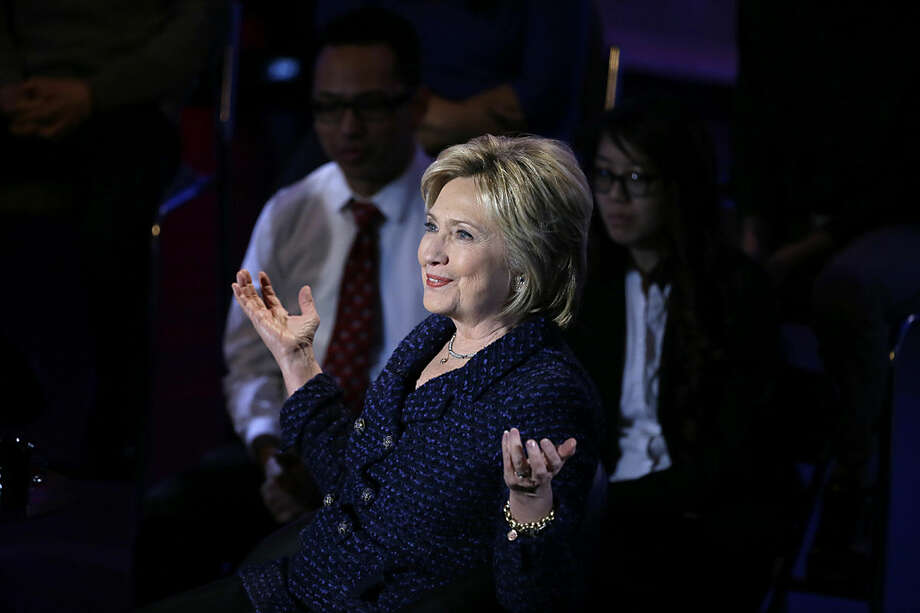 Democratic presidential candidate, Hillary Clinton makes a point during the Brown & Black Forum, Monday, Jan. 11, 2016, in Des Moines, Iowa. (AP Photo/Charlie Neibergall)