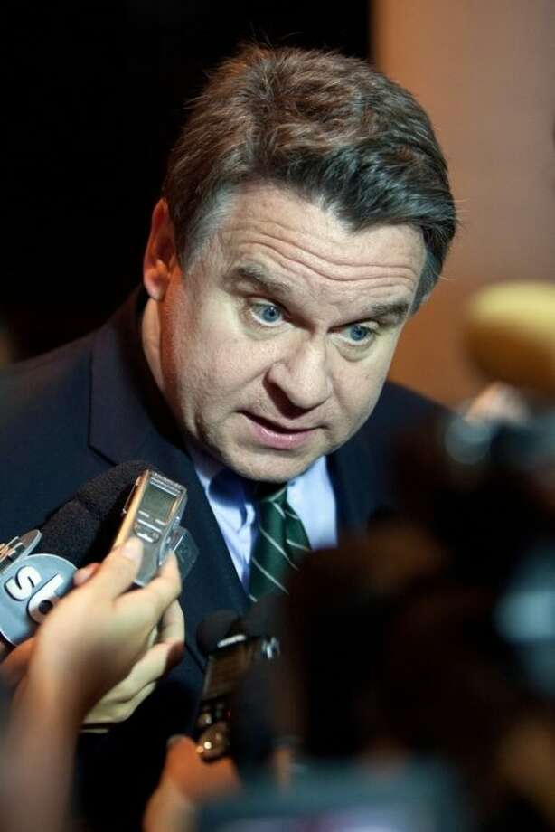 """File- This Dec. 17, 2009, file photo shows U.S. Rep. Chris Smith speaking to members of the media in Rio de Janeiro. """"New Jersey has a huge trafficking problem,"""" said Smith, R-N.J., who is also co-chairman of the House anti-human trafficking caucus. """"One Super Bowl after another after another has shown itself to be one of the largest events in the world where the cruelty of human trafficking goes on for several weeks."""" (AP Photo/Felipe Dana, File)"""