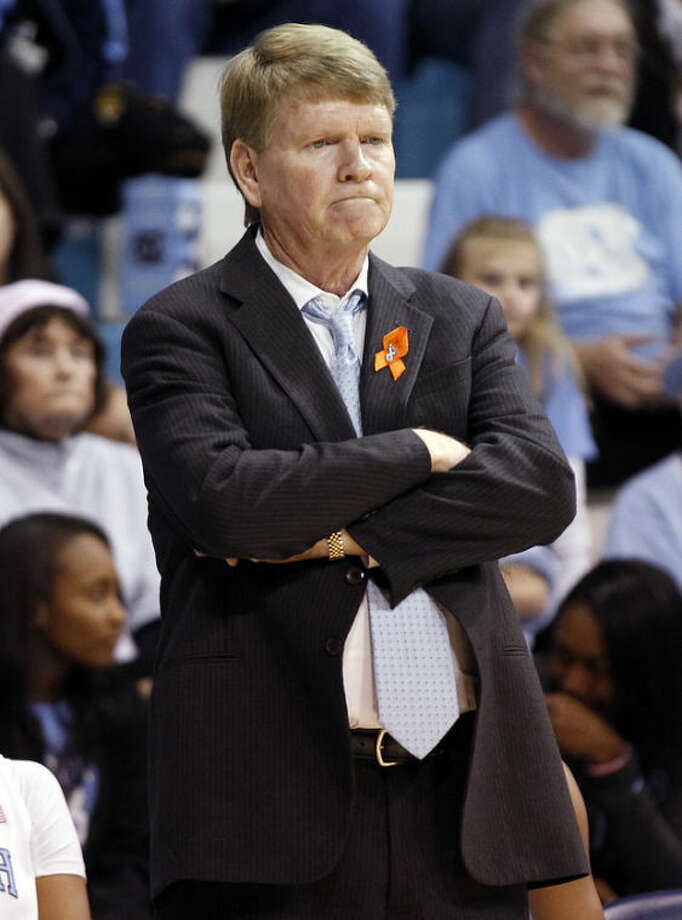 North Carolina associate head coach Andrew Calder reacts during the second half of an NCAA college basketball game against Maryland, Sunday, Jan. 5, 2014, in Chapel Hill, N.C. Maryland won the game 79-70. (AP Photo/Ellen Ozier)