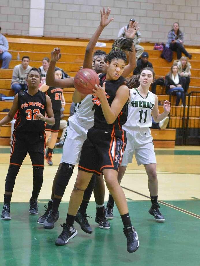 Hour Photo/Alex von Kleydorff Stamford at Norwalk Girls Basketball