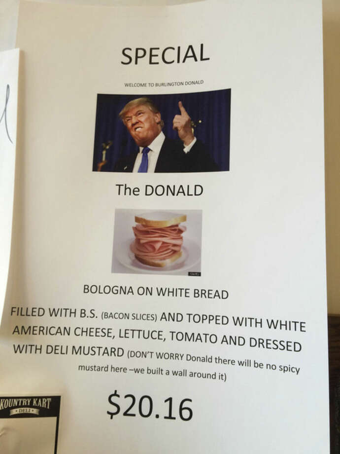 Workers at a Vermont deli near where Republican presidential candidate Donald Trump appeared say they didn't sell any of the bologna sandwich specials concocted in his honor. The sandwich was on sale for $20.16 at the Kountry Kart Deli, next door to the Flynn Center for the Performing Arts. Trump appeared there Thursday, Jan. 7, 2016. (Chris Villani /The Boston Herald via AP)