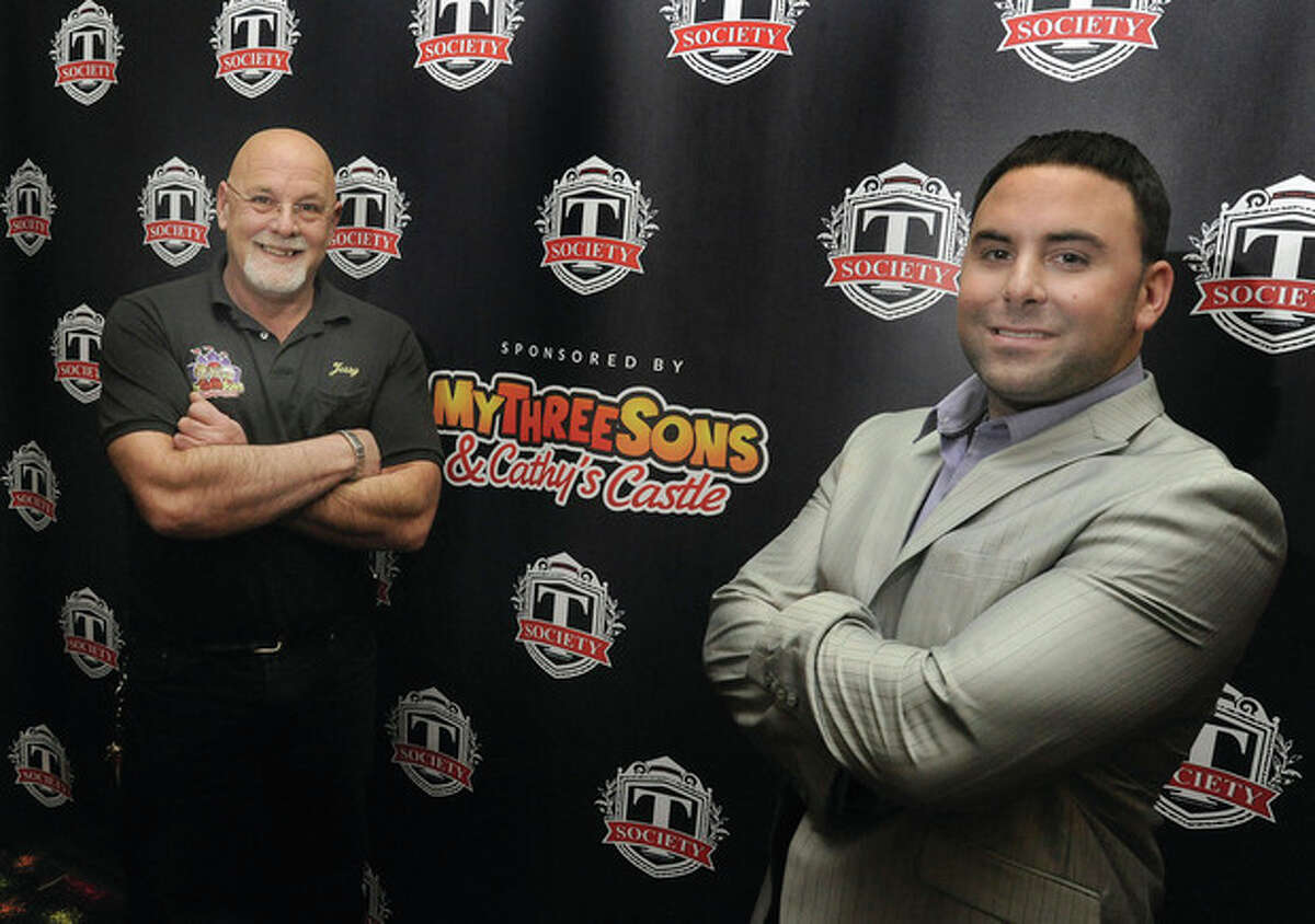 Jerry Petrini and his son Jason of My Three Sons in Norwalk launch a new shoulder business The Teen Society entertaining middle school students from the area with dancing, X Box, the laser maze as well as other activities and catered food. Hour photo/Matthew Vinci