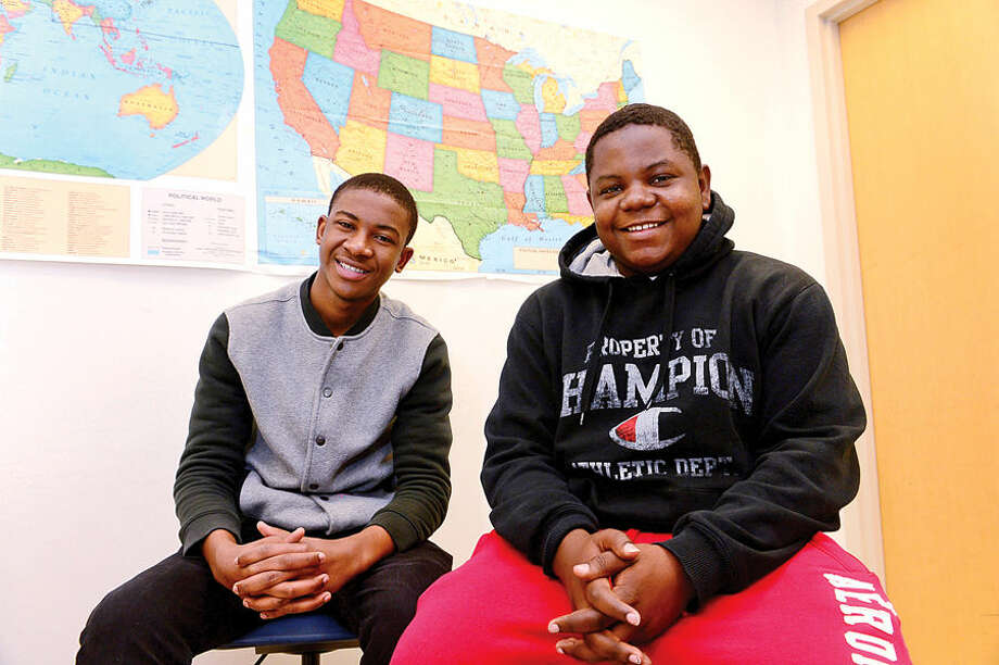 Hour photo/Erik TrautmannHolledens Fanor and George Bemsom Lafaille, two Brien McMahon High School students, moved to Norwalk after the 2010 earthquake in Haiti. Jan. 12 will be the fifth year anniversary of the devastating earthquake.
