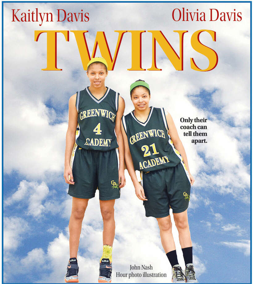 Norwalk's Kaitlyn Davis, left, and her twin sister Olivia are leading the Greenwich Academy girls basketball team this season.)