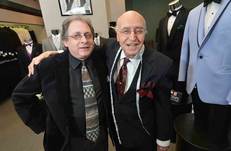 Hour Photo/Alex von Kleydorff Camillo Tramontana, Owner, Camillo Tuxedo Specialist with long time Manager James Ruiz in his Main St. Store