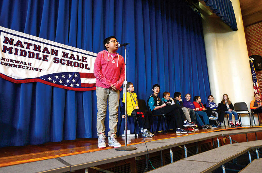 Hour photo / Erik Trautmann Nathan Hale Middle School students compete in the schoolwide Geography Bee Thursday.