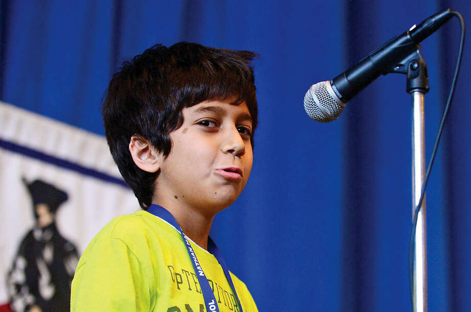 Hour photo / Erik Trautmann Nathan Hale Middle School students including Jay Sharma compete in the schoolwide Geography Bee Thursday.