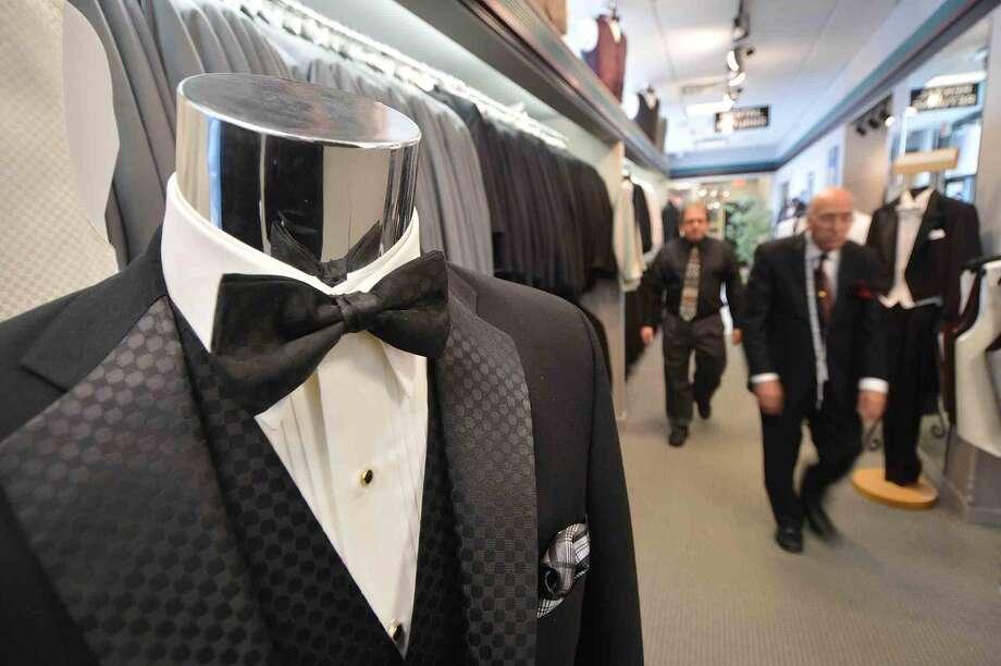 Hour Photo/Alex von Kleydorff Tuxedos on display at Camillo Tuxedo Specialist in Norwalk.
