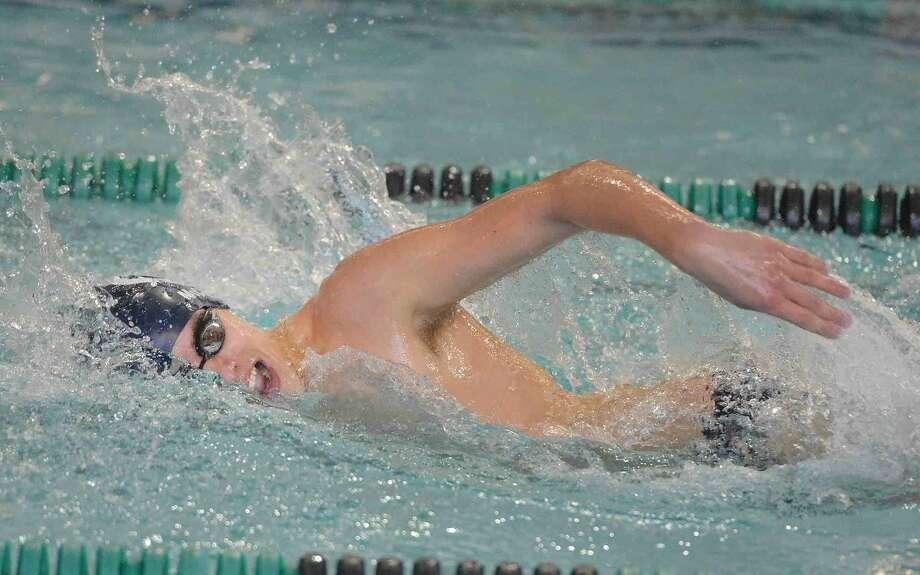 Hour Photo/Alex von Kleydorff Harrison McCool swims the 200 IM vs Norwalk-McMahon