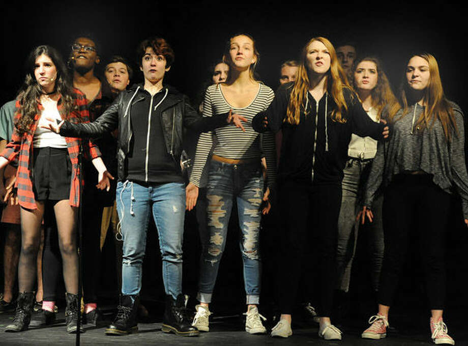 "A dress rehearsal for the play ""Keychain"" that was written and produced by 15 year old Zachary Anderson of Norwalk High School on Monday at the Crystal Theater in Norwalk. Hour photo/Matthew Vinci"